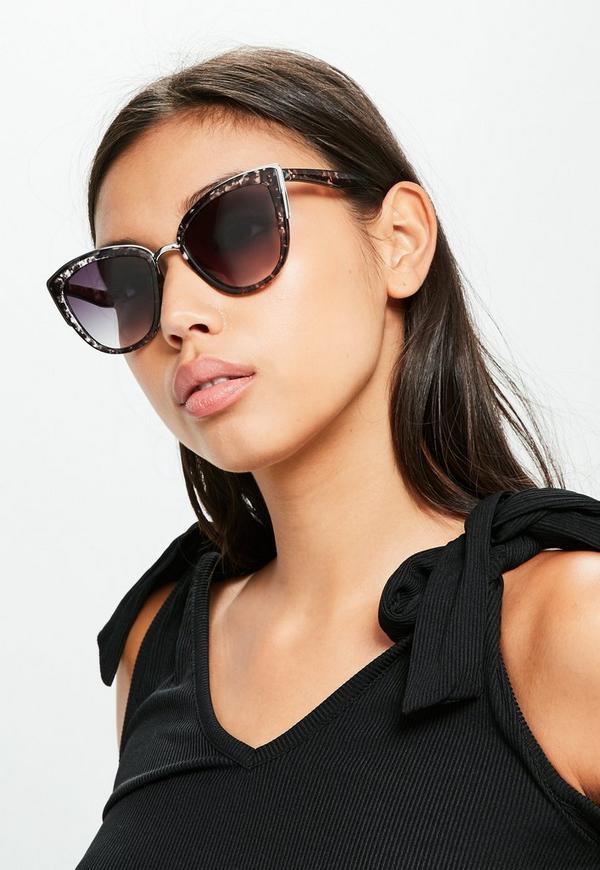 Black Metal Frame Cat Eye Sunglasses