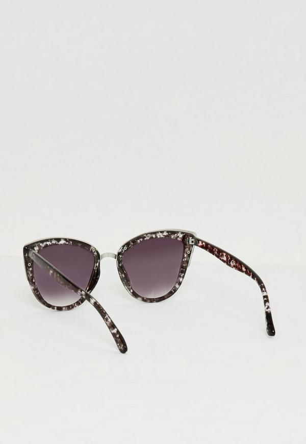 Black Metal Frame Cat Eye Sunglasses Missguided
