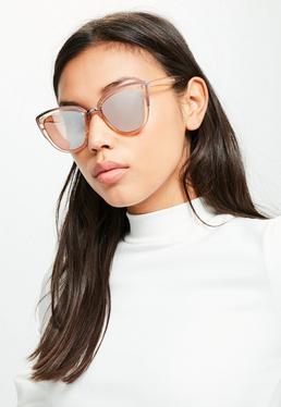 Rosa Cat-Eye Sonnenbrille mit Metallrahmen