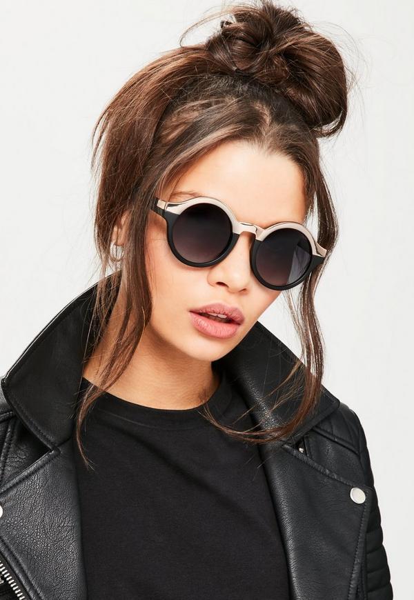 Black Half Metal Round Sunglasses