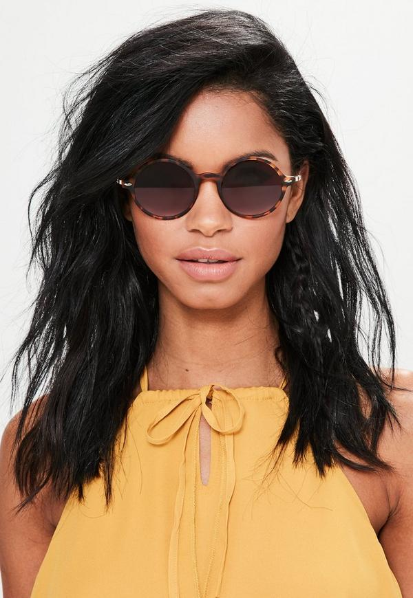 Brown Matte Tortoiseshell Round Sunglasses