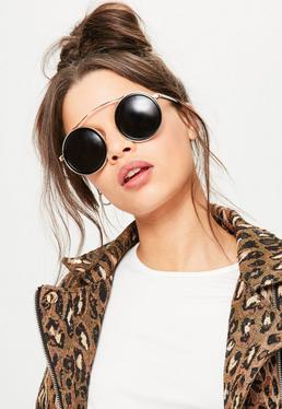 Black Round Top Metal Bar Sunglasses