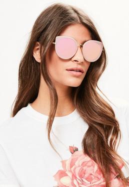 Sonnenbrille mit gerundetem Katzenaugen Gestell in Rosa