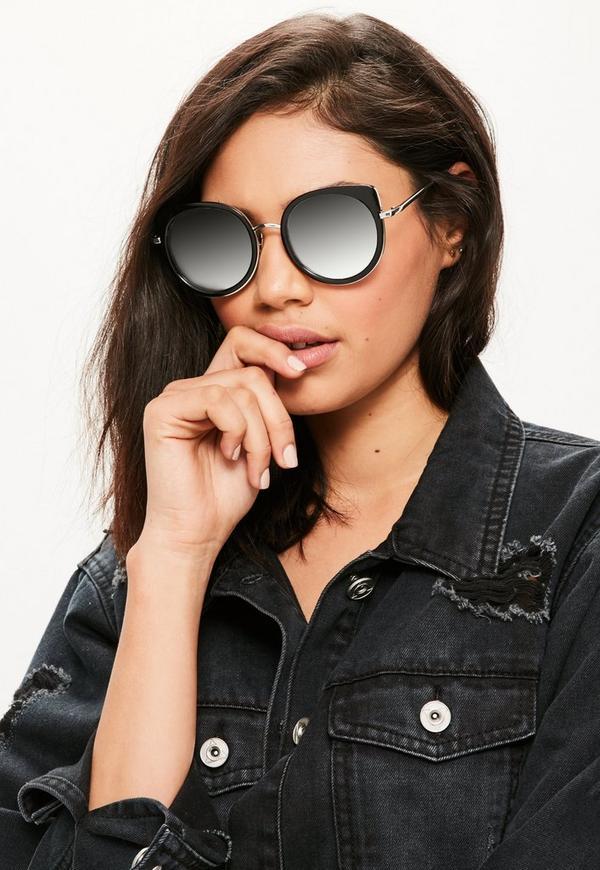 Black Rounded Cat Eye Sunglasses