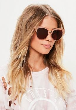 Rose Gold Half Frame Sunglasses