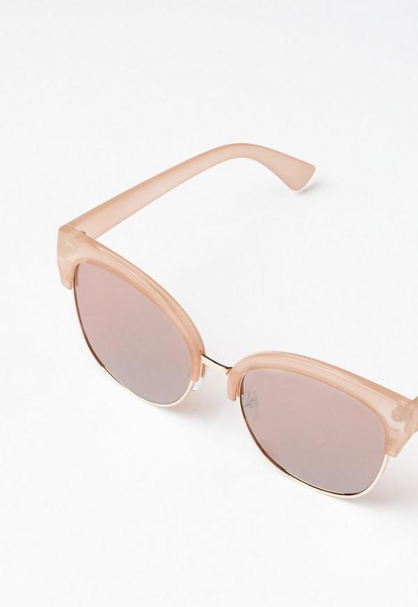 Rose Gold Half Frame Sunglasses Missguided