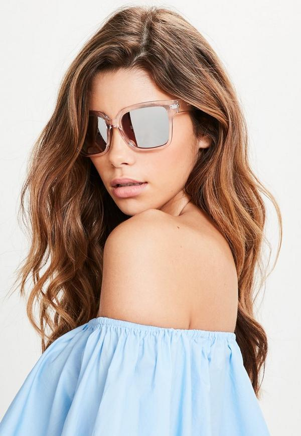 Rose Gold Clear Frame Sunglasses