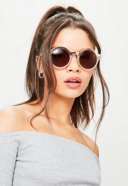Beżowe okrągłe okulary przeciwsłoneczne z pół metalową oprawką