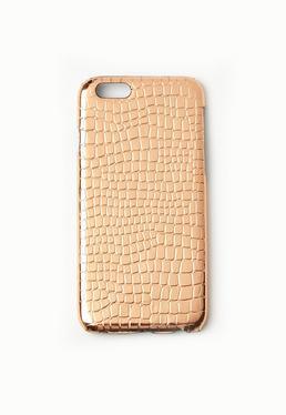 Coque iPhone 6 rose doré effet crocodile