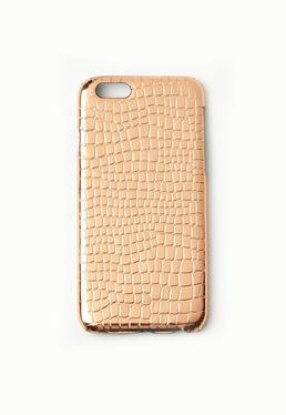 Rose Gold Metallic Croc Effect iPhone 6 Case