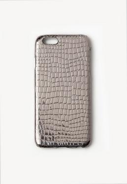 Coque iPhone 6 argenté métallique effet croco