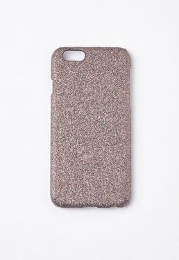 Srebrny brokatowy pokrowiec na telefon iPhone 6