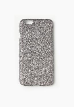 Srebrna brokatowa obudowa na iPhone 6