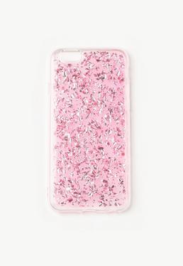 Coque rose à paillettes pour iPhone 6