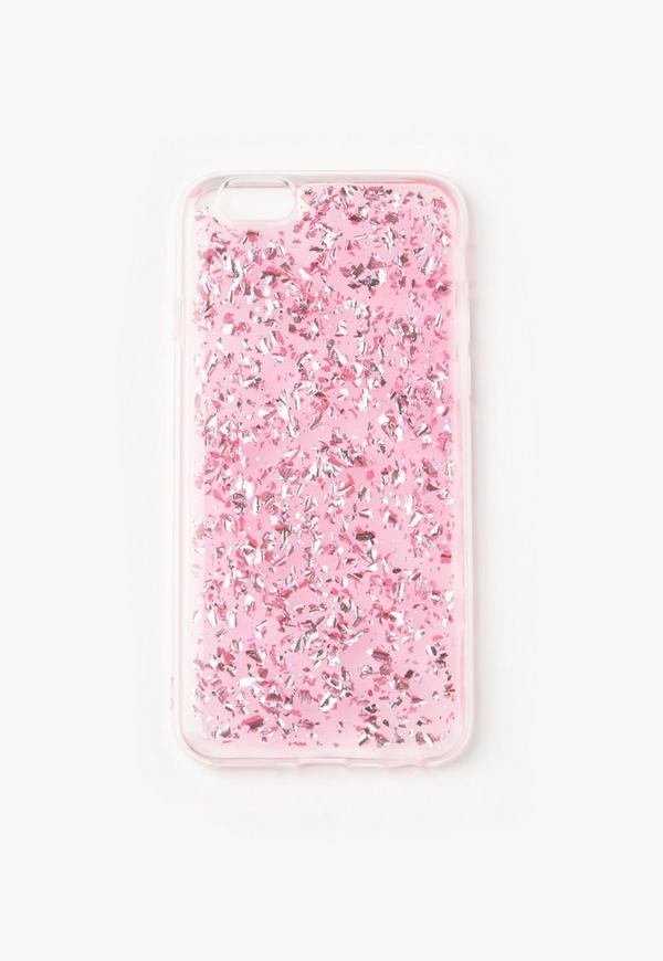 Pink Glitter Flake iPhone 6 Case