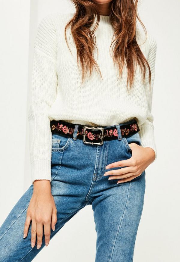 Black Floral Embroidered Buckle Belt
