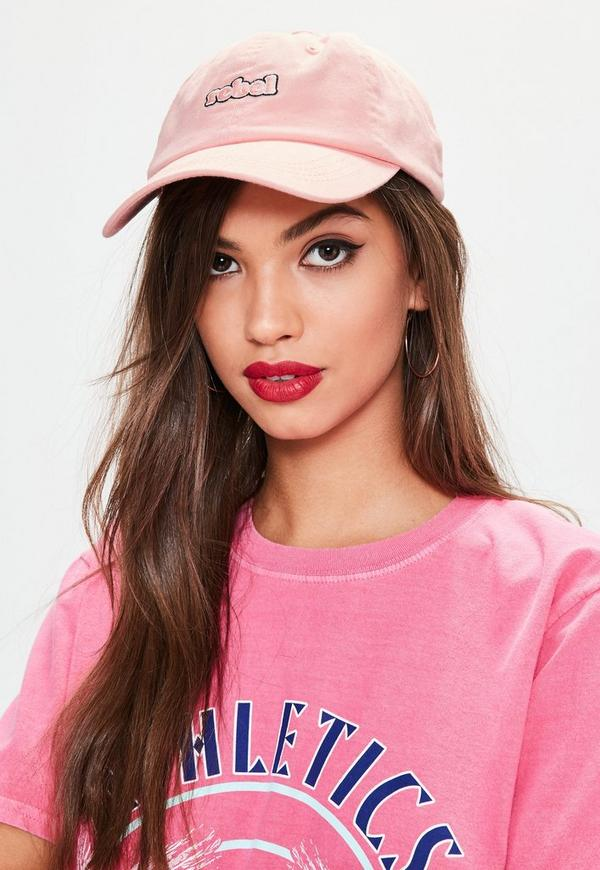 Pink Washed Rebel Badge Cap