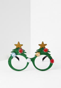 Green Christmas Tree Glasses