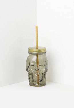 Bocal en verre tête de mort doré