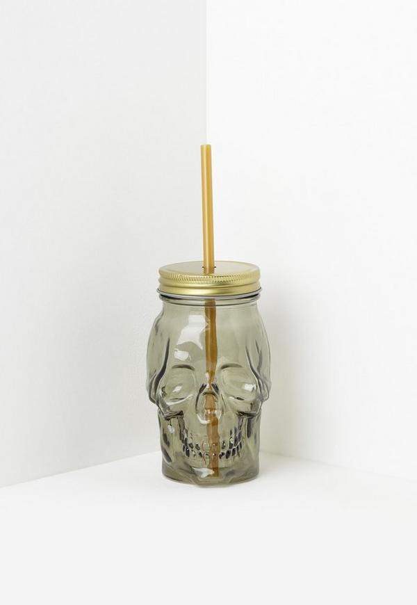 Gold Skull Glass Tumbler