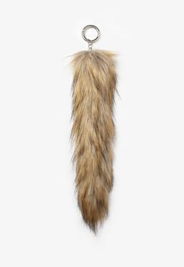 Brown Faux Fur Tail Key Ring