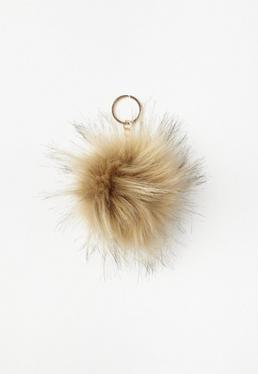 Beige Pom Pom Key Ring