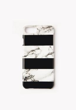 Marmurkowa obudowa na iPhone 6 z czarnymi paskami