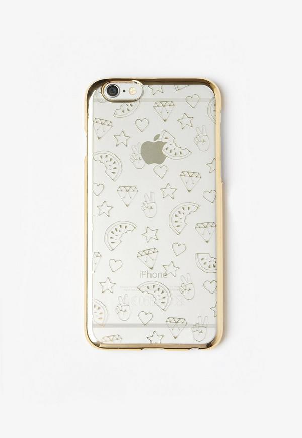 Gold Metallic Doodle Print iPhone 6 Case