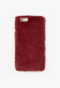 Burgundy Faux Fur iPhone 6 Case