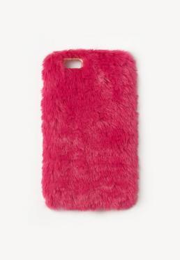 Coque en fausse fourrure rose pour iPhone 6