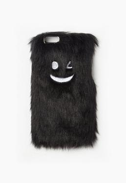 Black Wink Face Faux Fur iPhone 6 Case