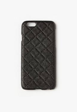 Black Faux Leather Quilted iPhone 6 Case