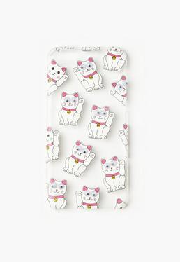 White Googly Eye Lucky Cat iPhone 6 Case
