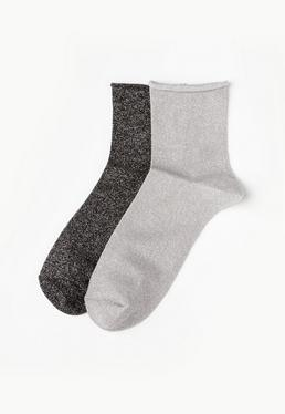 Grey 2 Pack Lurex Ankle Socks