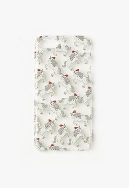 Hülle für iPhone 7 mit Einhornmotiven mit Weihnachtsmützen und Glitter