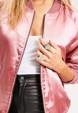 Shell & Babe Power Statement Ring Set