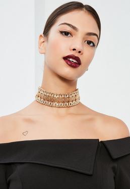 Gold Embellished Choker Necklace