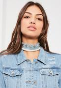 Blue Star Detail Denim Choker Necklace