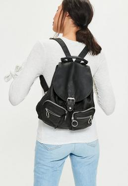Black Pocket Detail Backpack