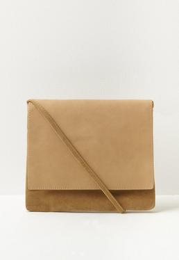 Camel Mixed Fabric Cross Body Bag