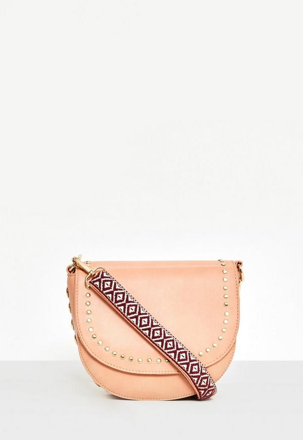 Nude Studded Guitar Strap Cross Body Bag