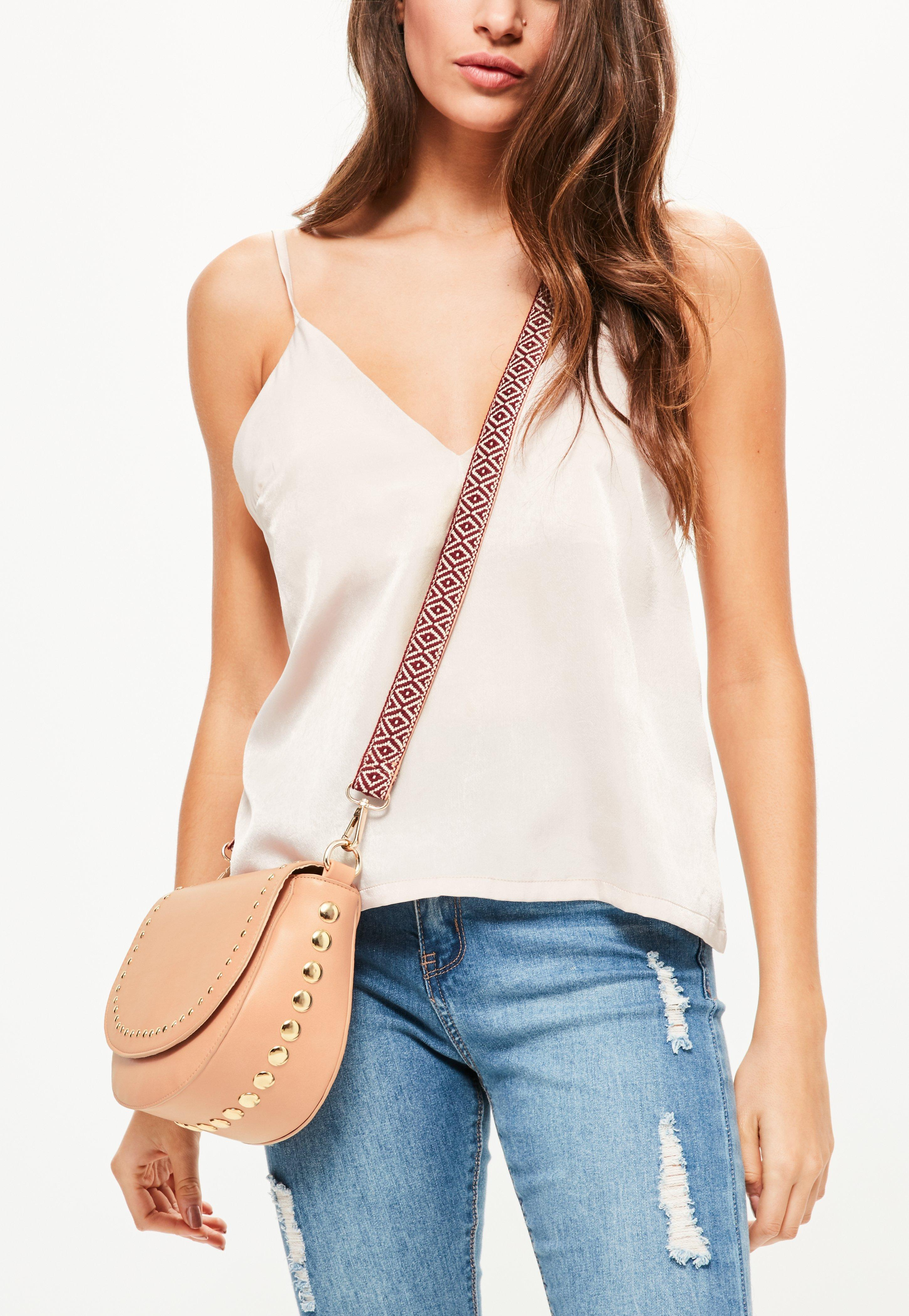587889c63b Missguided Nude Studded Guitar Strap Cross Body Bag at £10