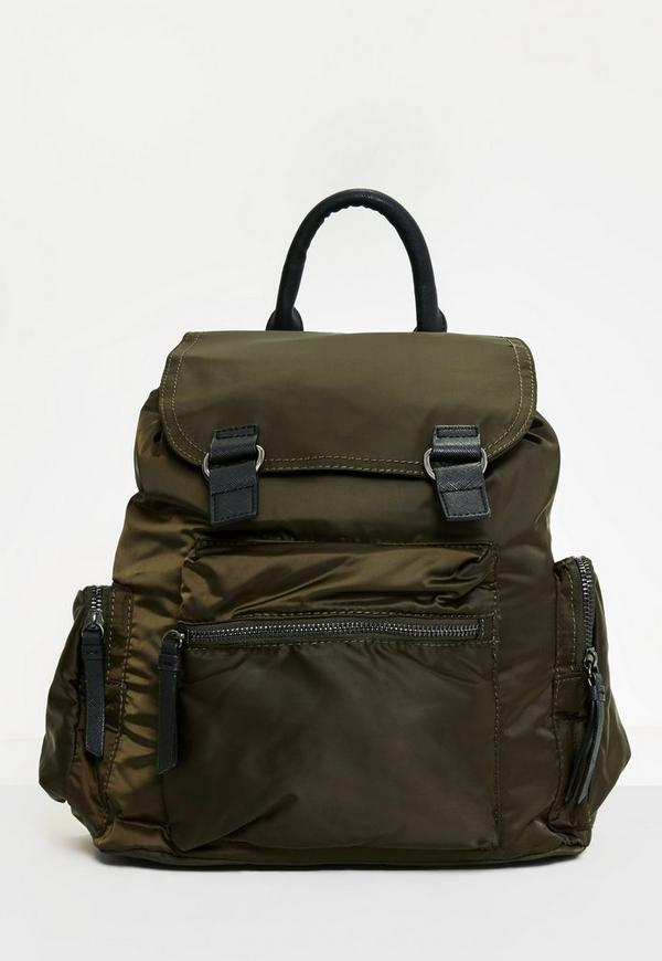 Khaki 3 Pocket Nylon Backpack