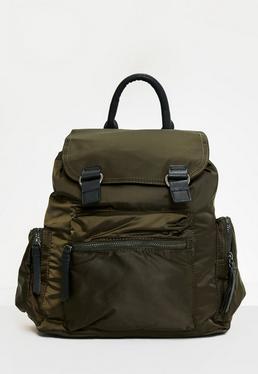 Nylon-Rucksack mit 3 Taschen in Khaki