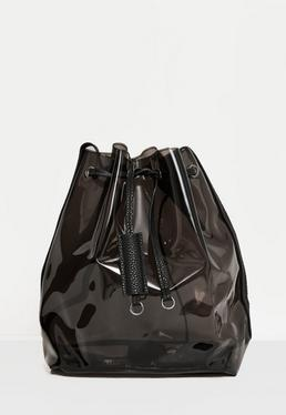 Black Smoked Effect Clear Shoulder Bag