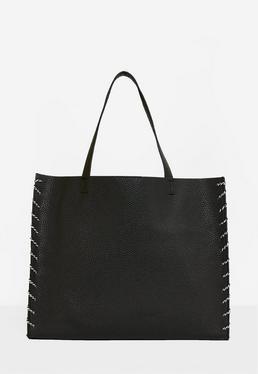 Cabas noir avec détails corde