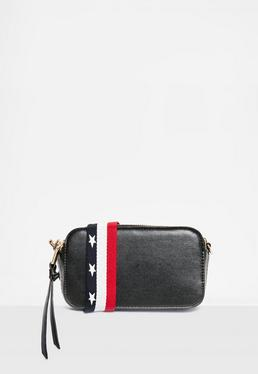 Black Guitar Strap Cross Body Bag