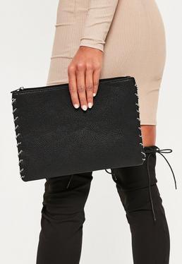 Clutch Handtasche mit geschnürter Seilband Seite in Schwarz