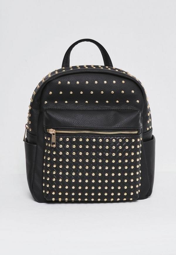 Premium metal stud backpack black