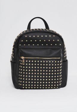 Rucksack mit Nieten und verstellbaren Trägern in Schwarz
